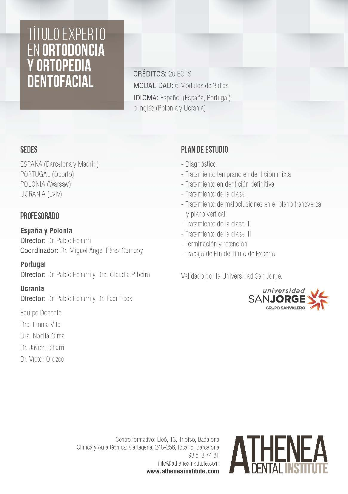 2020 Experto en Ortodoncia y Ortopedia Dentofacial